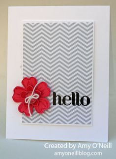 "handmade greeting card ... clean and simple design ... ""hello"" stampend in black on gray chevron patterned paper .... briright red stamped and punched and layered lower ... luv how elegant  it looks ... Stampin'Up!"