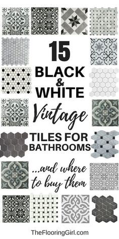 Home Remodel Hacks 15 black and white stenciled and vintage tiles for a retro vintage or farmhouse style.Home Remodel Hacks 15 black and white stenciled and vintage tiles for a retro vintage or farmhouse style. Retro Home Decor, Bathroom Styling, Bath Remodel, Bathroom Inspiration, Bathroom Interior, Farmhouse Style, Modern Farmhouse, White Farmhouse, Vintage Farmhouse