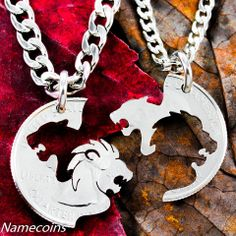 Lion and Lioness Necklace set, interlocking couples jewelry, hand cut – NameCoins