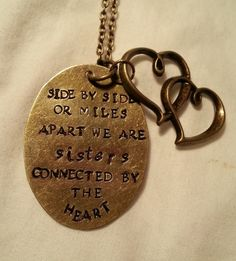 Sisters Hand Stamped Bronze Necklace Side by by TempleStamping, $20.99
