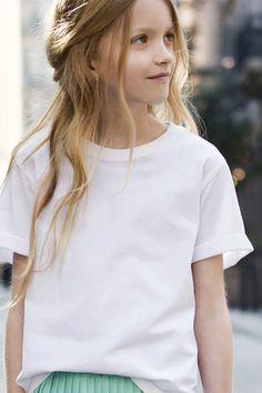 pleated skirt and t Zara girls lookbook