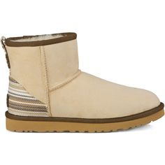 Ugg&Amp;Reg; Classic Mini Serape Sheepskin Bootie (200 CAD) ❤ liked on Polyvore featuring shoes, boots, ankle booties, cream, sheepskin booties, sheepskin boots, short boots, print boots and pattern boots