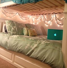 Bottom bunk style for college students! #lights #mac #bunkbeds