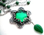 Emerald rhinestone flower necklace - antiqued silver layered filigree glass jewel pendant, leaf dangle, beaded chain, rhinestone jewelry