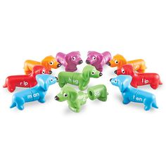 Learning Essentials™ Snap-n-Learn™ Rhyming Pups - Colorful puppy friends snap together and pull apart to make rhyming words. Set includes 10 heads and 10 tails that can be mixed and matched to make over 55 words. Start by matching colors and identifying letters, then move on to building three-letter rhyming words. Great for reinforcing fine motor skills.Learning Resources®