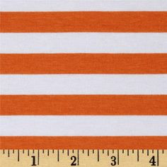 "Riley Blake Jersey Knit 1/2"" Stripes Orange from @fabricdotcom  From Riley Blake Fabrics, this lightweight stretch cotton jersey knit fabric features a smooth hand and four way stretch for added comfort and ease. With 50% stretch across the grain and 25% vertical stretch, it is perfect for making t-shirts, leggings, loungewear, yoga pants and more! It features printed horizontal stripes."
