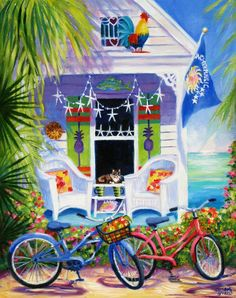 """Painting : """"One Fine Day"""" (Original art by Susan O'Neill Paintings) Watercolor Sketchbook, Watercolor Art, Original Paintings, Original Art, Caribbean Art, Cottage Art, Bicycle Art, Puzzle Art, Tropical Beaches"""
