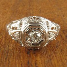 Florencia Vintage Diamond Engagement Ring circa 1950   Vintage Engagement Rings   Turtle Love Co. Jewelry