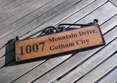 Batman Address Plate - Metal Scroll Frame with Handpainted Wooden Sign.