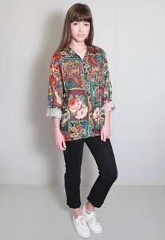 VINTAGE 1980'S AMAZING MIXED FLORAL PRINT OVERSIZED SHIRT