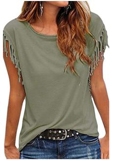 Cutiefox Women's Summer Tassel Short Sleeve T Shirt Tops Blouse - Damen Mode 2019 Diy Cut Shirts, T Shirt Diy, T Shirt Refashion, Cut Tshirt Ideas, Upcycle T Shirts, Cut Shirt Designs, Clothes Refashion, T Shirt Hacks, Diy Vetement