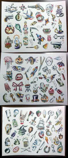 3 Pc Pork Chop Sheet set NeoTraditional Tattoo Flash by DerekBWard, $20.00 love the paper airplane