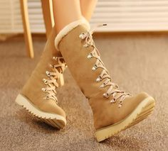 Womens Velvet Flat Heel Lace Up Knee High Fur Lined Snow Comfort Boots Free P&P