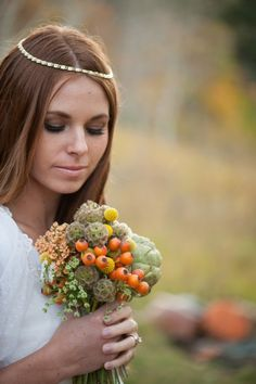 Rustic Hippy Birde and bouquet Fall Bouquets, Wedding Bouquets, Wedding Flowers, Chic Wedding, Fall Wedding, Wedding Stuff, Rustic Wedding Inspiration, Wedding Ideas, Orange Wedding