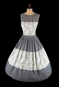 gray chiffon and ivory lace cocktail party dress features a bombshell silhouette with a sheer illusion neckline, nipped waist and elegant full skirt Vintage Fashion 1950s, Vintage Wear, Vintage Looks, Retro Fashion, Vintage Style, 50s Dresses, Lovely Dresses, Vintage Dresses, Vintage Outfits