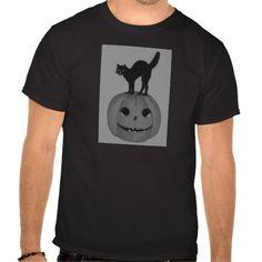 Monochrome Black  White Jack O Lantern Black Cat Tee Shirts