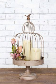 Distressed Gray Birdcage With Bird Ornament U0026 Stand