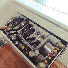 raraさんの、リフォーム,引き出し収納,調味料収納,キッチンツール,フライパン収納,鍋収納,ファイルボックス,収納,無印良品,キッチン,のお部屋写真