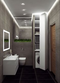 Loft-style apartment in the Chekhov House LCD, city of Ros . - Loft-style apartment in Chekhov House residential complex, Rostov-on-Don. Laundry Room Design, Bathroom Design Small, Laundry In Bathroom, Dining Room Design, Bathroom Interior Design, Modern Bathroom, Laundry Rooms, Boho Bathroom, Interior Doors
