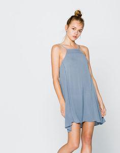 Pull&Bear - dames - jurken - jurk met halterlijn - lichtblauw…