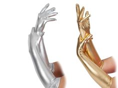 Silver Gold Metallic Gloves Ladies Christmas Fancy Dress Elbow Length Gloves in…