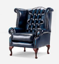 Chesterfield Queen Anne High Back Wing Chair UK Manufactured, Leather Sofas, Traditional Sofas
