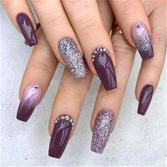 Elegant Purple Glitter Coffin Nails Inspirations +Tips Elegant Nails elegant nails near me Colorful Nail Designs, Acrylic Nail Designs, Nail Art Designs, Nails Design, Pink Gel, Purple Nail Art, Purple Nails With Glitter, Purple Wedding Nails, Purple Acrylic Nails
