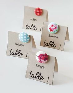 Button table numbers