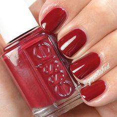 essie maki me happy -  crimson-wrapped berry red nail polish / lacquer