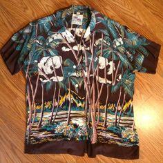 Vtg 1950's Kahanamoku Champion Loop Collar Hawaiian Shirt Sz M
