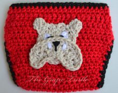 Georgia Bulldog Crochet Diaper Cover, Baby Infant Boy or Girl Diaper Cover, Newborn to 24 months, Photo Prop