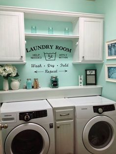 Such a pretty happy aqua blue color on the walls! laundry room makeover