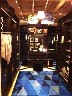 Ikea walk in closet - shelves behind mirrors