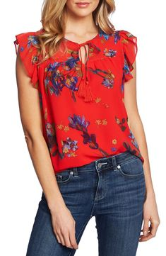 Beautiful CeCe Watercolor Iris Flutter Sleeve Blouse Best Seller Womens fashion clothing from top store Red Blouses, Blouse Online, Trendy Plus Size, Flutter Sleeve, Blouse Designs, Iris, Floral Tops, Fashion Outfits, Ootd Fashion