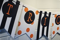 Items similar to Trick or Treat- Halloween per flag on Etsy Halloween Banner, Halloween Treats, Halloween Pumpkins, Halloween Party, Paper Banners, Pennant Banners, Bunting, Trick Or Treat, Photo Booth