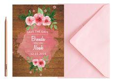 Boho Vintage Wedding SAVE THE DATE  Pink by LoveArtsStationery