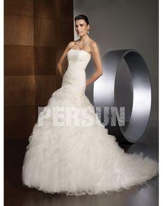 The Organza A-line Mermaid Train Pleated Vintage Wedding Dress Canada--Shop for High-Quality Wedding Dresses
