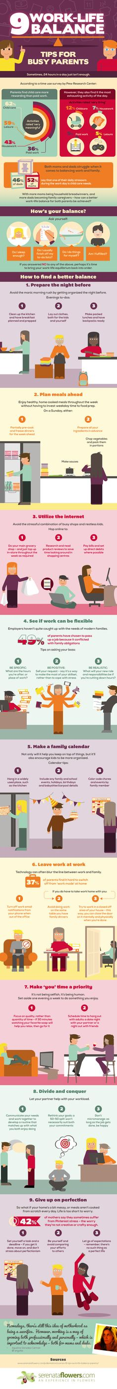 Infographic with nine work life balance tips for busy parents. If you are trying to have a career, work-life balance is not a simple task. Working Mom Tips, Working Mums, Kids And Parenting, Parenting Hacks, Parenting Styles, Single Parenting, Parenting Quotes, Parenting Classes, Work Life Balance Tips