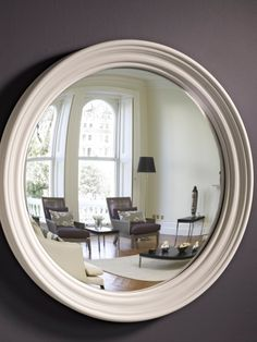 Handcrafted Grey Round Mirror with original frame designed and made by Omelo Mirrors.  Available with convex or flat mirror.  #largeroundmirror #greymirror #roundmirror #roundwallmirror #overmantlemirror Extra Large Round Mirror, Round Mirrors, Overmantle Mirror, Convex Mirror, Kitchen Gadgets, Flat, Living Room, The Originals, Grey