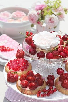 Tea Party, strawberries and clotted cream are practically essential to afternoon tea at my house!