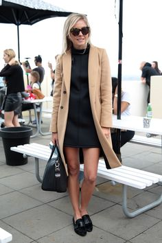 Shop this look on Lookastic:  https://lookastic.com/women/looks/coat-shift-dress-loafers-satchel-bag-sunglasses/13269  — Brown Leopard Sunglasses  — Black Suede Loafers  — Black Leather Satchel Bag  — Beige Coat  — Black Shift Dress