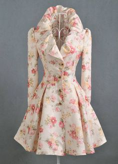 Attractive Flower Print Long Sleeve Turndown Collar Trench Coats | Rosewe.com