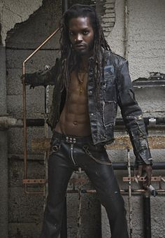 Darryl shot by Allan Amato in leather Junker jacket and pants.