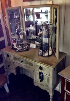 Tri-fold mirror and dresser. Painted with Vintage Market & Design® furniture paint- Willow & Antique and Dark Umber Wax.
