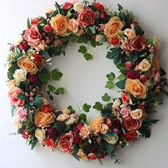 This bright colored wreath will add life to any room Wreath is packaged well in box note The wreath not suit to cottage front door  Packing List wreath—1pc Tips: 1.When you display the artificial Flower for a long time,there may be some dust on it,you can use hairdryer's cold air... more details available at https://perfect-gifts.bestselleroutlets.com/gifts-for-holidays/home-kitchen/product-review-for-door-wreath-24-inch-artificial-rose-flowers-home-wall-decor-vint