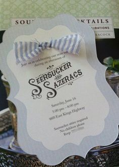"""The first """"Seersucker and Sazerac"""" invitation for this annual event by Magnolia Creative Co."""