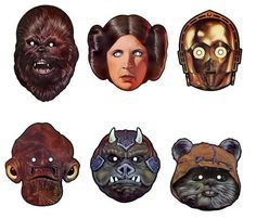 "FREE Printable Star Wars Masks.  Chewbacca, Princess Leia, C-3PO, Gamorrean Guard, Darth Vader, Yoda, Wookiee.  Retro masks from 1983 ""The Star Wars Book of Masks"".  For Halloween, parties, or just for fun.  Also links to The Clone Wars Masks and Prequel Masks."
