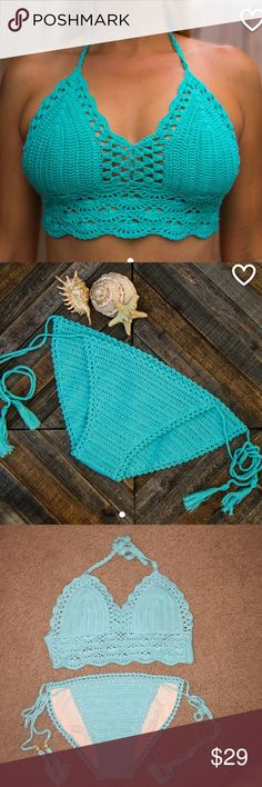 Teal knitted bikini Teal knitted bikini, originally $45. Great condition only tried on once! Never got the chance to wear. Stays on body great! More real than in the last photo! Weird lighting Swim Bikinis