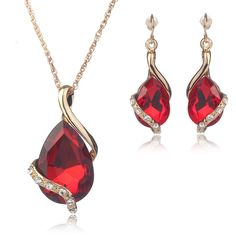 Crystal Necklace Earrings Set