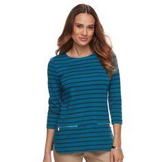 Petite Croft & Barrow® Zip-Pocket Sweater, Women's, Size: Xl Petite, Blue